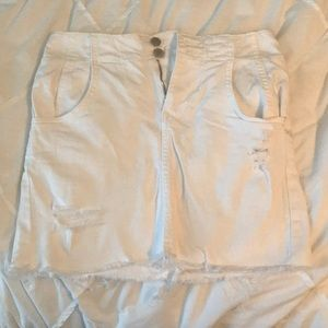 Dresses & Skirts - White mini jean skirt with buckle in the back